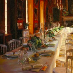 """La Table du Marriage, Château Breteuil ,"" Lindsay Goodwin. 14"" x 11"" Oil on Canvas."