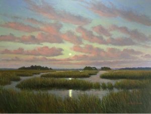 """Moonrise over Cumbahee Rice Fields,"" J. Christian Snedeker. 36"" x 48"" Oil on Canvas"