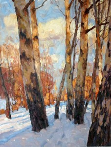 """Sunny Winter"" Aleksander Titovets  40"" x 30"" Oil on Canvas"