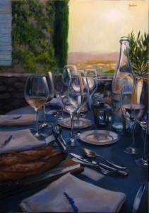 """Table View of the Sunset over Provence""  18"" x 26"" Oil on Canvas $5650"