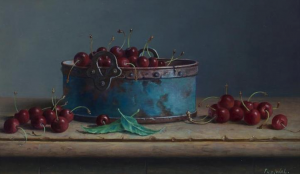 """Cherries and Copper"" Frans Van der Wal 9.5"" x 15.75"" Oil on Panel"