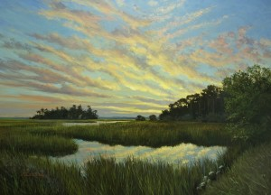 """Rockville Sunset""  J. Christian Snedeker 36"" x 48,"" Oil on Canvas"
