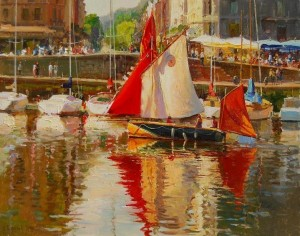 """'La Jeannette' at Full Sail"" Evgeny & Lydia Baranov 24"" x 30"", Oil on Canvas"