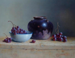 """Grapes and Vase""  Frans Van der Wal   16"" x 20""  Oil on Panel"