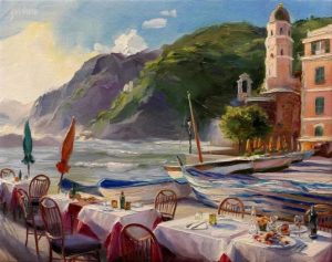 """Sunset Dinner in Cinqueterre, Vernazza"" Lindsay Goodwin 8"" x 10,"" Oil on Canvas"